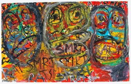 PETER PONGRATZ, Fratzen, 1993, Gouache auf Papier,  74.5x119cm