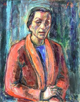 MARIANNE FIEGLHUBER-GUTSCHER, Selbstporträt in roter Jacke, 1944, Öl/Leinwand, 78x62cm
