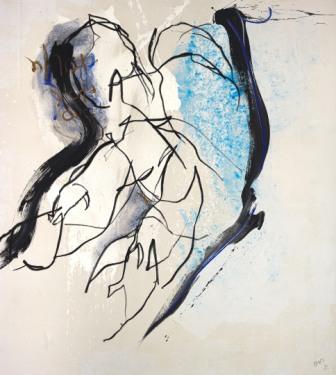 HANNES MLENEK, Paartanz, Ölfarbe, Acryl / Leinwand, 200 x 180 cm, 2020, Foto: Michael Nagl