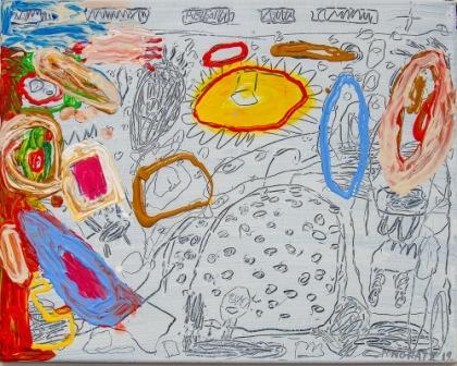 PETER PONGRATZ, Landschaft, 2019, Acryl und Bleistift auf Leinwand, 55x70cm