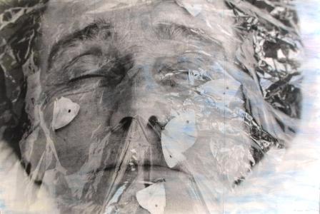 MARIELIS SEYLER, La mére, Fotoemulsion auf Barytpapier, Blauwurz, 180x265cm