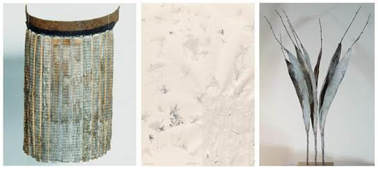 LEENA NAUMANEN, Gesichtsschirm, Dachschindel-Leinen-Gewebe, 40x25x20cm, 1994 I TONE FINK, Luftwesen-mono°tone, paper-teared-pencil, 64x48cm, 2018 I JOSEF BUECHELER, PW-4-17, Papier-Holz-Leim, 62x14x47cm, 2017