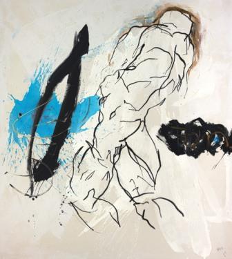 HANNES MLENEK, Schwerelos, Ölfarbe, Acryl / Leinwand, 200 x 180 cm, 2020, Foto: Michael Nagl