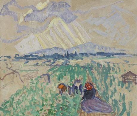 Broncia Koller-Pinell; Zwischen Himmel und Erde; Öl auf Karton; 57,2 x 69,2 cm;