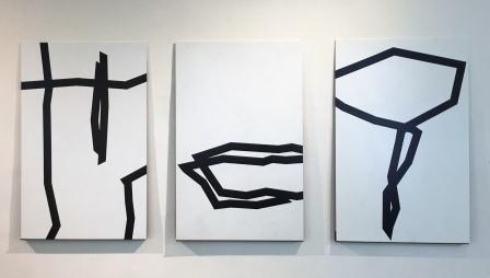 ROBERT SCHAD, Zeichnungen Lack auf Blech, 2019-2020