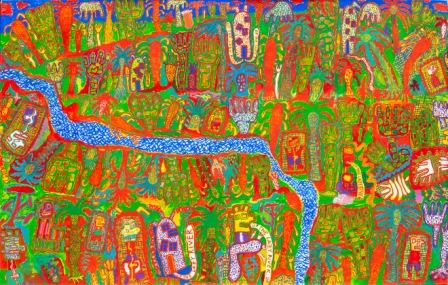 PETER PONGRATZ, Up The Lazy River, 2002, Acryl auf Paper, auf Leinwand montiert, 190x300cm