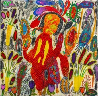 PETER PONGRATZ, Frau mit rotem Hut, 2008, Acryl und Zeichenkohle auf Leinwand, 190x195cm
