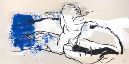HANNES MLENEK, Blaue Eruption, Ölfarbe, Acryl / Leinwand, 85x170cm, 2018, Foto: Michael Nagl