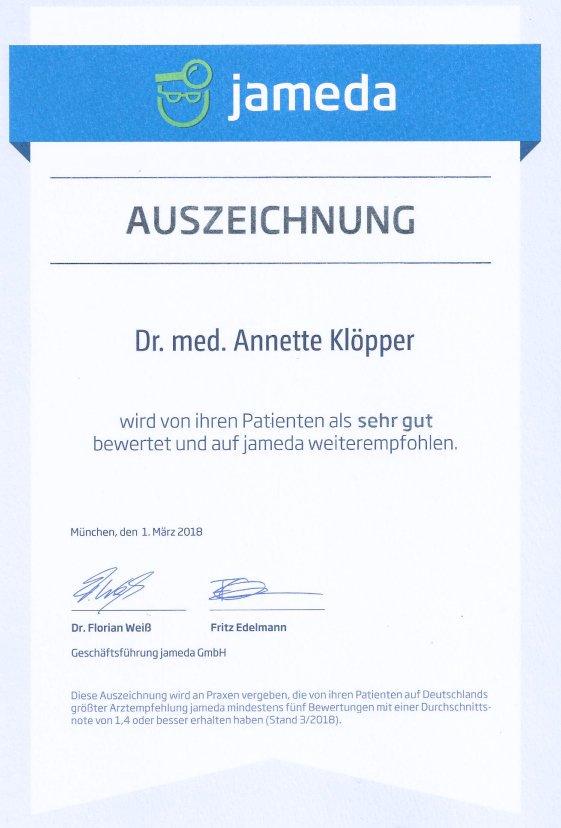 """Wir freuen uns sehr, dass Frau Dr.med. Annette Klöpper beim renommierten Arztbewertungsportal """"Jameda"""" an erster Stelle steht; von 526 niedergelassenen Frauenärzten in Hamburg."""