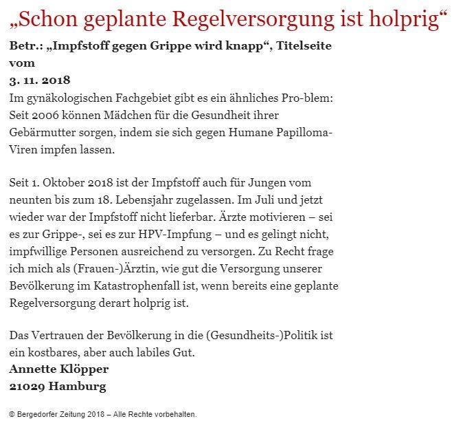 Bergedorfer Zeitung Leserbrief 12.11.2018