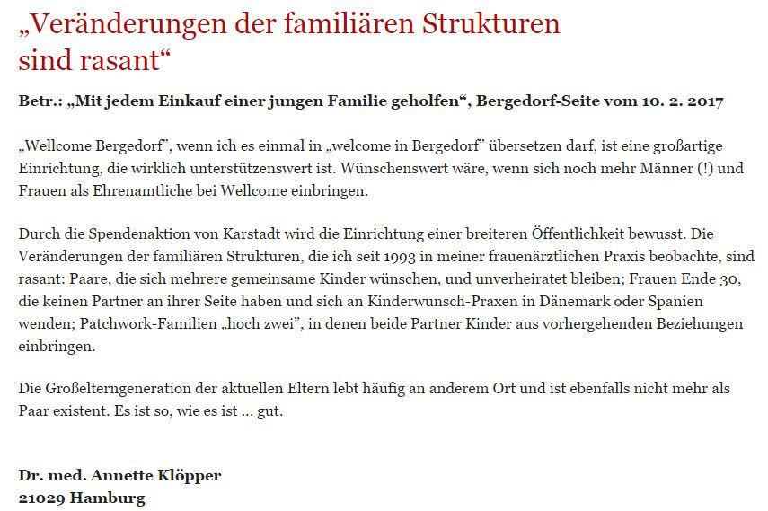 Leserbrief Bergedorfer Zeitung 24.02.2017