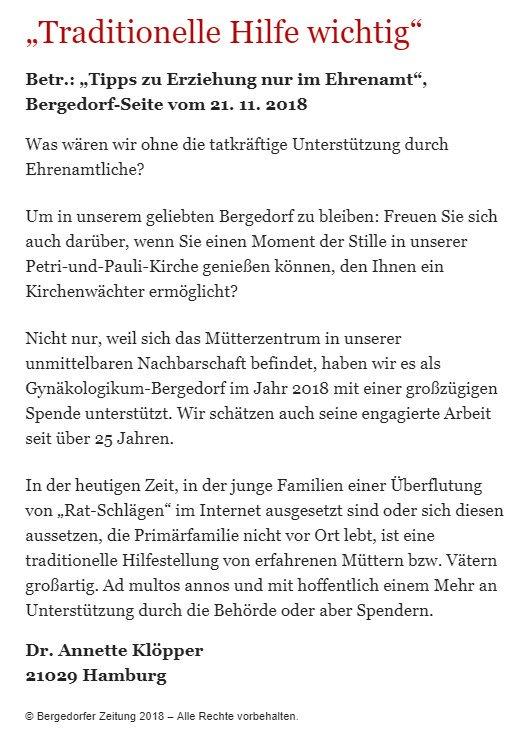 Bergedorfer Zeitung Leserbrief 15.12.2018