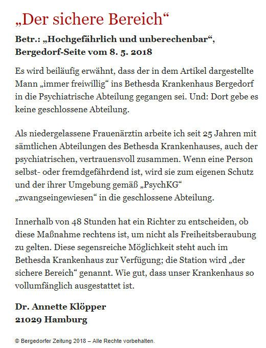 Bergedorfer Zeitung Leserbrief 25.05.2018