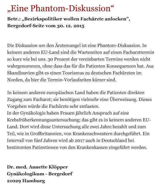 Bergedorfer Zeitung Leserbrief 28.01.2016