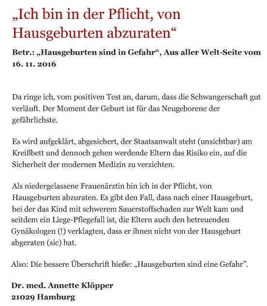 Leserbrief Bergedorfer Zeitung 23.11.2016