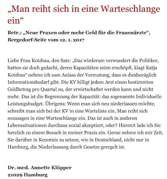 Bergedorfer Zeitung Leserbrief 25.01.2017