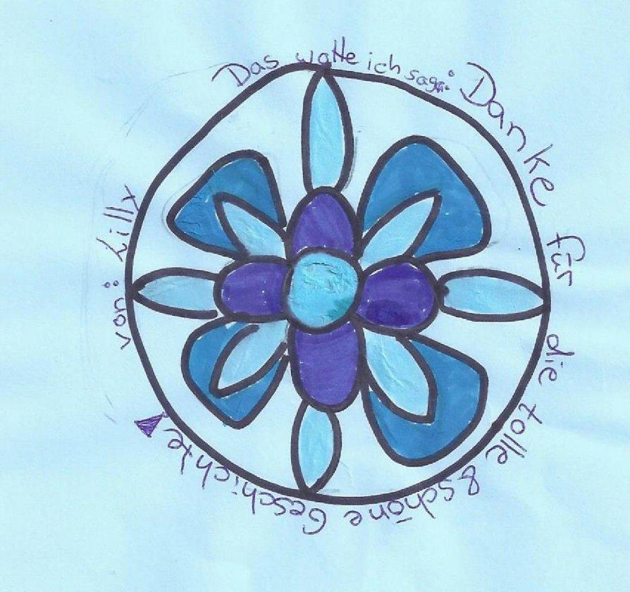 Blau-rosigen Dank an Lilly für das schöne Mandala.