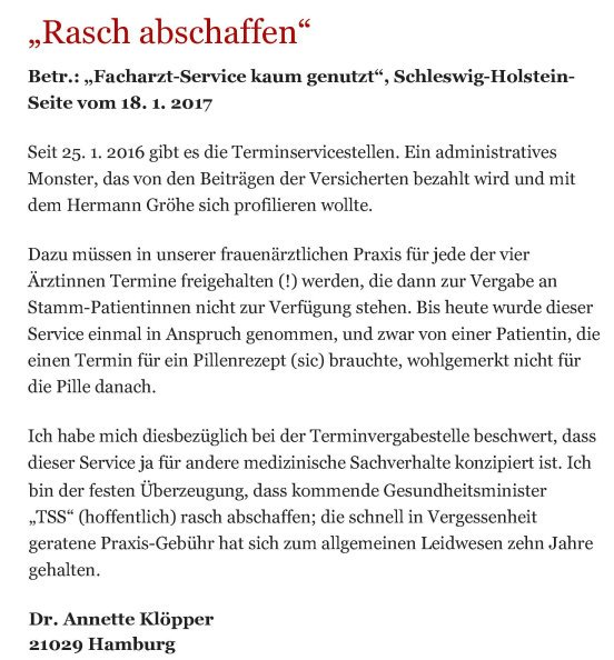 Bergedorfer Zeitung Leserbrief 31.01.2017