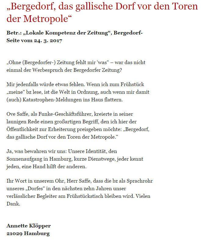 Bergedorfer Zeitung Leserbrief 24.03.2017