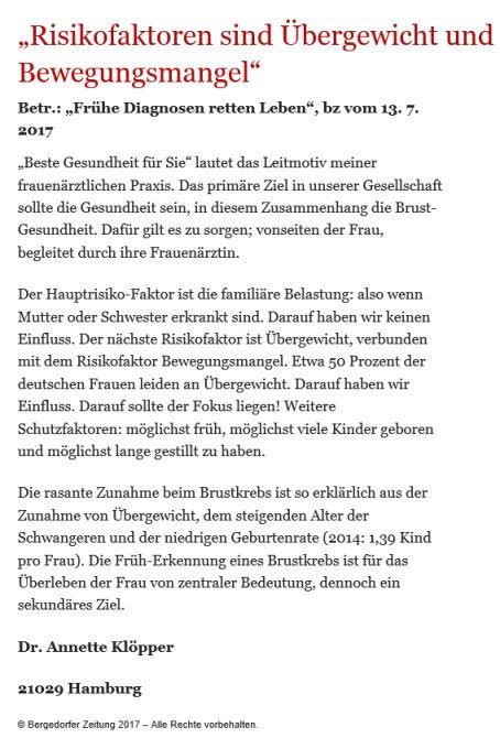 Bergedorfer Zeitung Leserbrief 20.07.2017