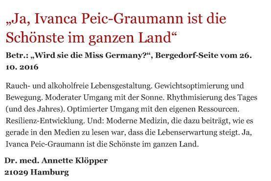 Bergedorfer Zeitung Leserbrief 05.11.2016