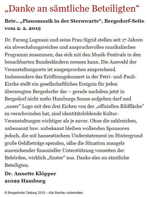 Bergedorfer Zeitung Leserbrief 15.02.2019