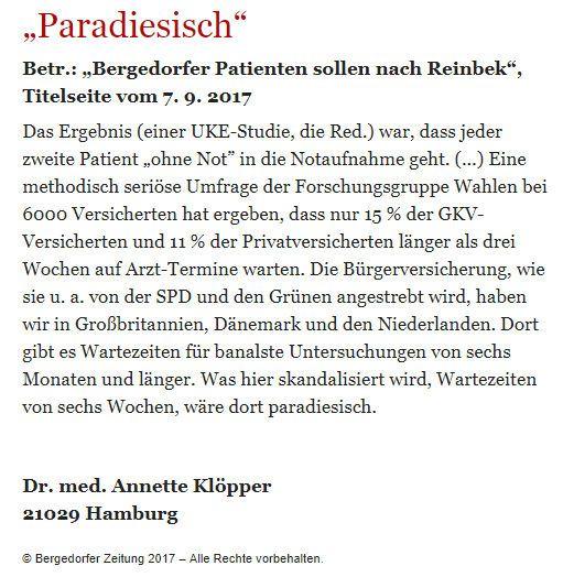 Bergedorfer Zeitung Leserbrief 23.09.2017