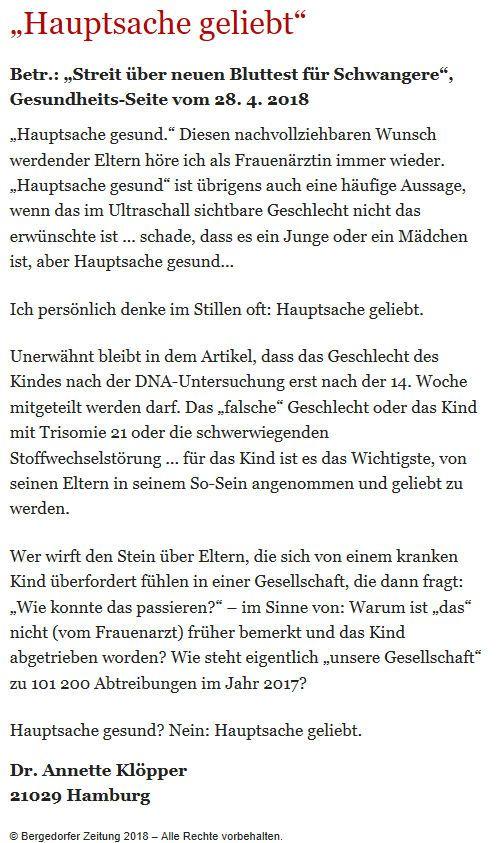 Bergedorfer Zeitung Leserbrief 07.05.2018