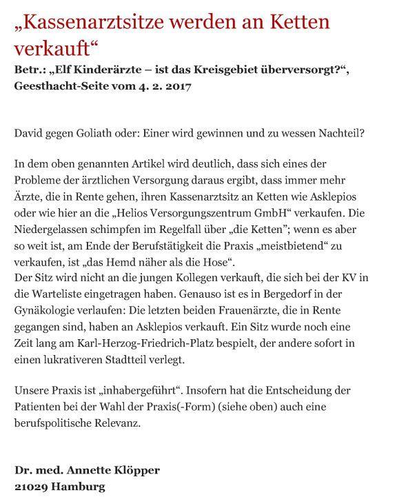 Bergedorfer Zeitung Leserbrief 01.03.2017