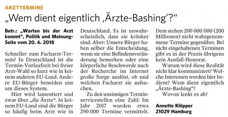 Leserbrief Bergedorfer Zeitung 13.07.2018