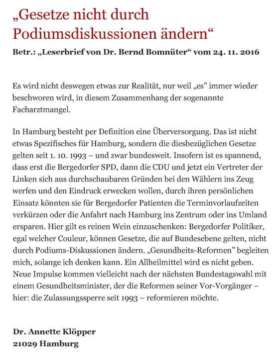 Bergedorfer Zeitung Leserbrief 19.12.2016