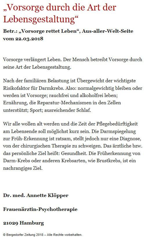 Bergedorfer Zeitung Leserbrief 21.04.2018