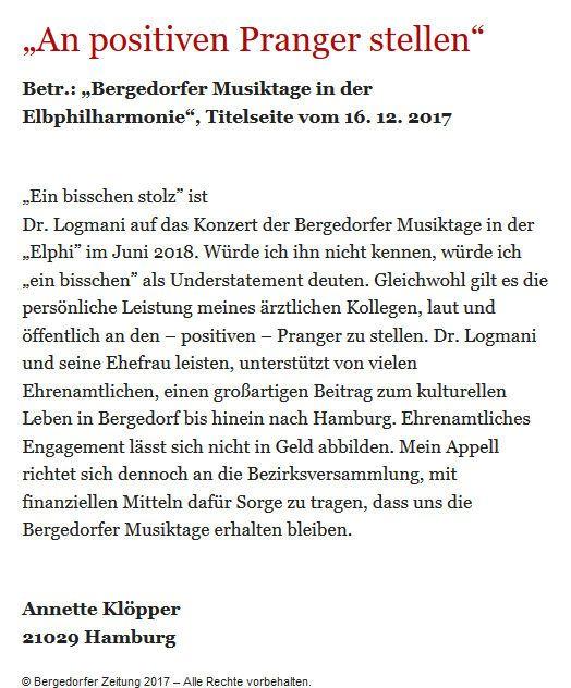 Bergedorfer Zeitung Leserbrief 27.12.2017
