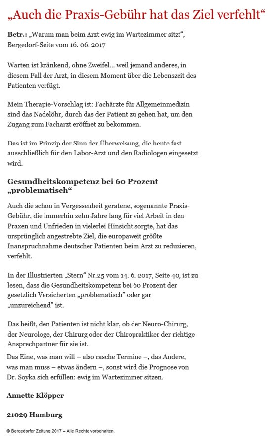 Bergedorfer Zeitung Leserbrief 21.06.2017