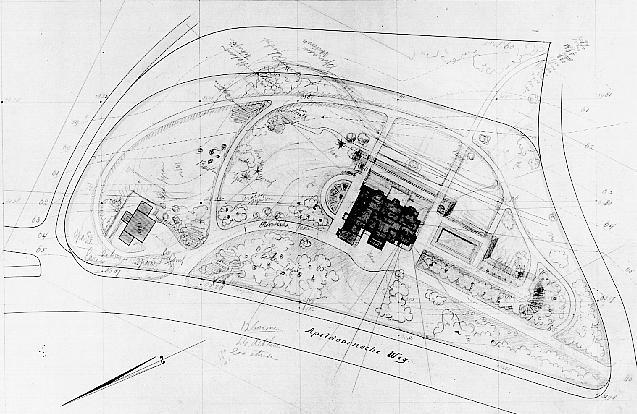 Tuinontwerp van L.A. Springer (Bron: Archief Wageningen; archief Springer).