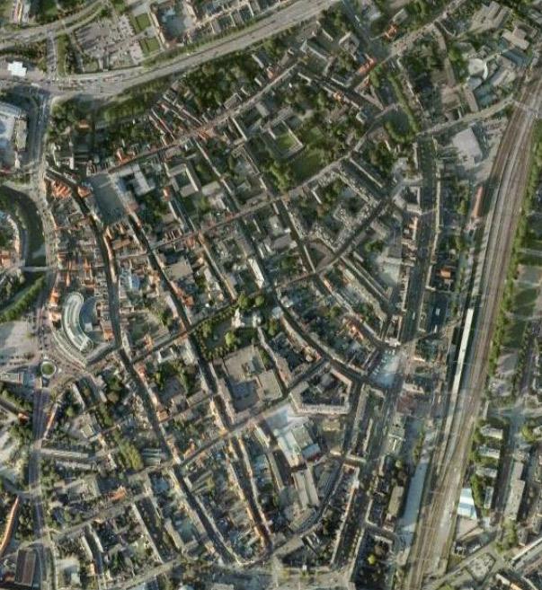 Luchtfoto van het centrum van Roermond.