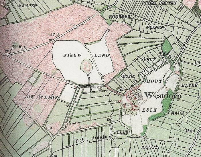 Topografische kaart van Westdorp uit 1898