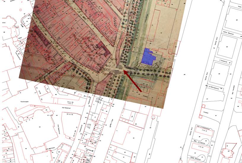 Projectie van de kadastrale onderlegger op een plattegrond uit 1826 en in blauw hotel Roermond.