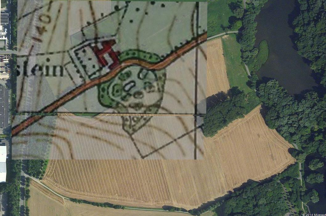 Luchtfoto met daarop geprojecteerd de topografische plattegrond van 1924 met tuinaanleg.