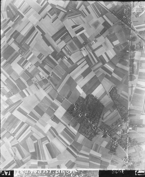 Luchtfoto uit 1945: boerderijen en huisweiden in een agrarisch landschap.