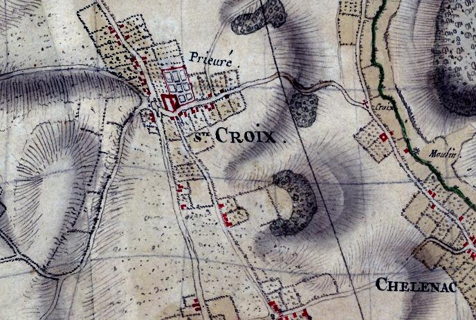 Villaretkaart, 1745 met daarop het klooster.