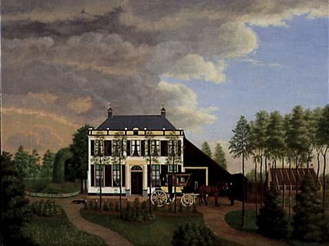 Het voormalige landhuis Klein IJpelaar, weergegeven op een schilderij uit 1840.