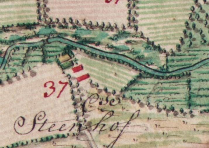 Ferrariskaart van 1777. De Stockxhof wordt weergegeven als een langgevelboerderij met vrijstaande schuur.