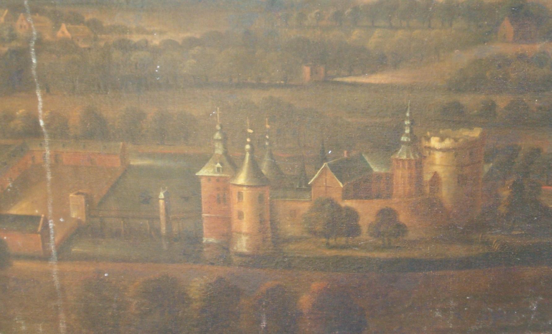 Schilderij van kasteel Stein uit 1728 (foto van schilderij, genomen door Jos Drubers).