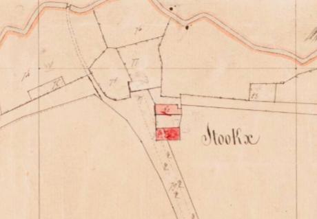 Kadastrale minuutkaart van 1811-1832. De Stockxhof wordt weergegeven als een langgevelboerderij met vrijstaande schuur.
