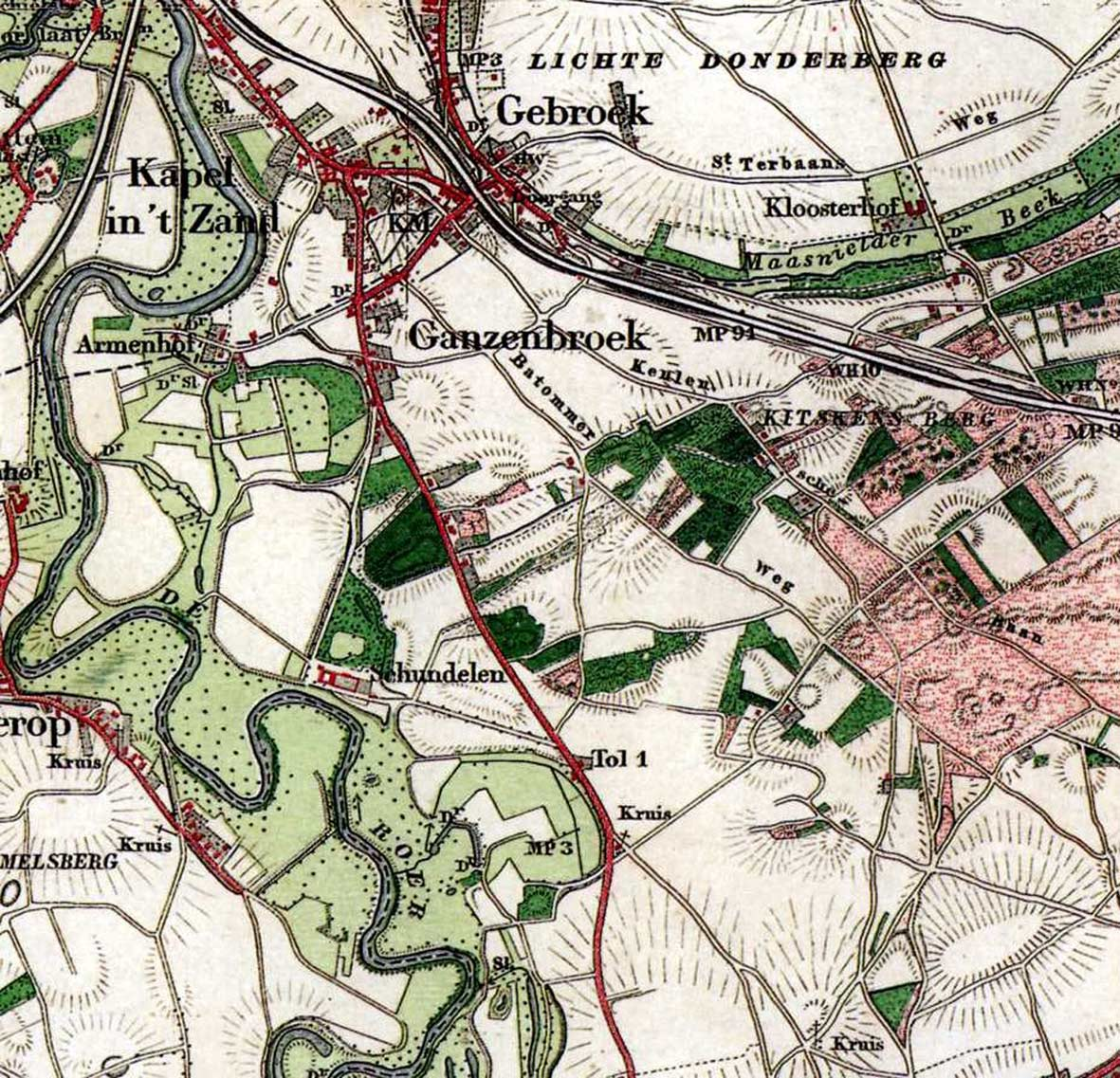 Topografische kaart van Roermond-Zuid, 1890.