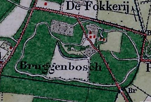 Topografische kaart uit 1890, met detail van Bruggenbosch.