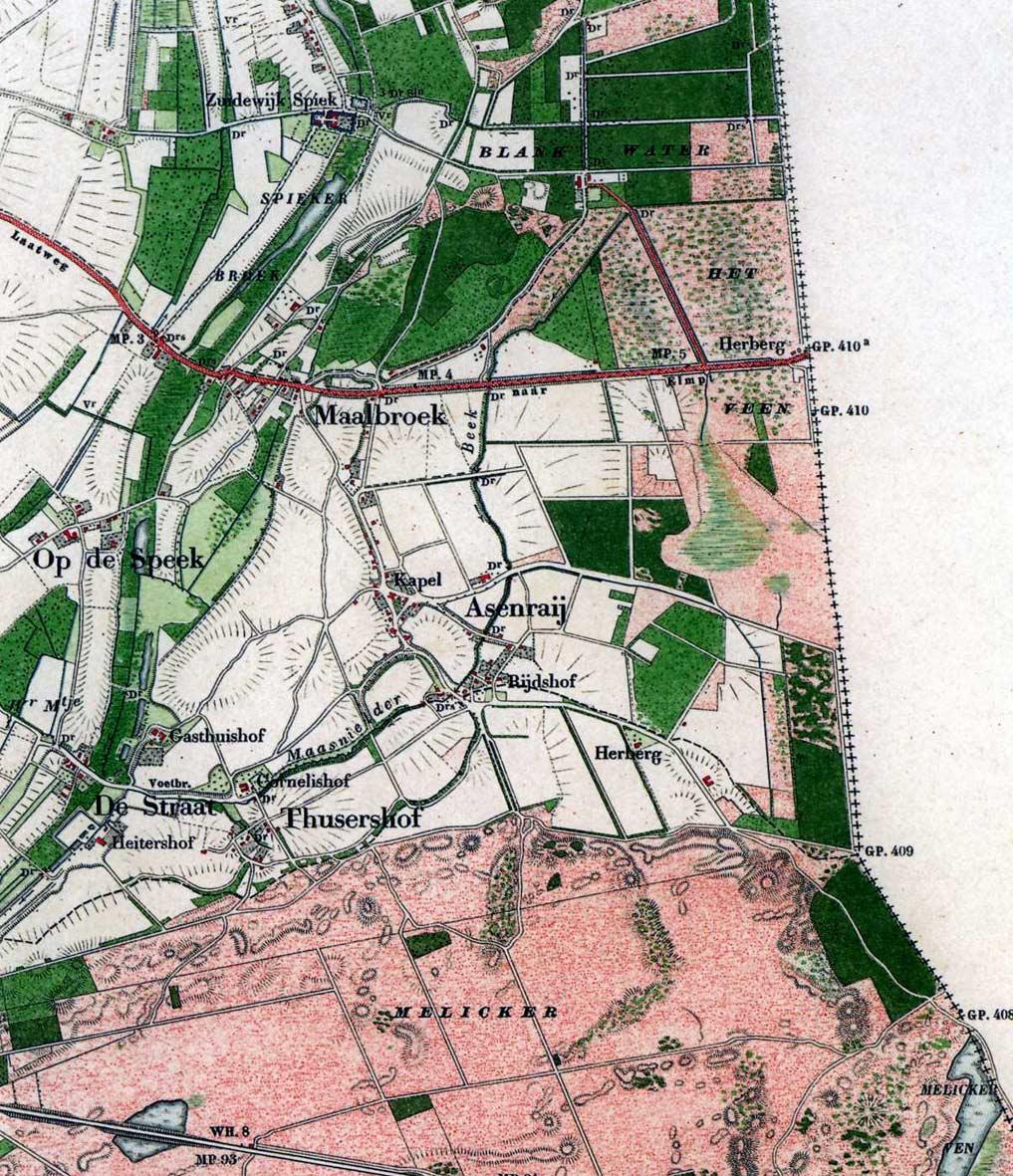 Topografische kaart van Asenray, 1890.
