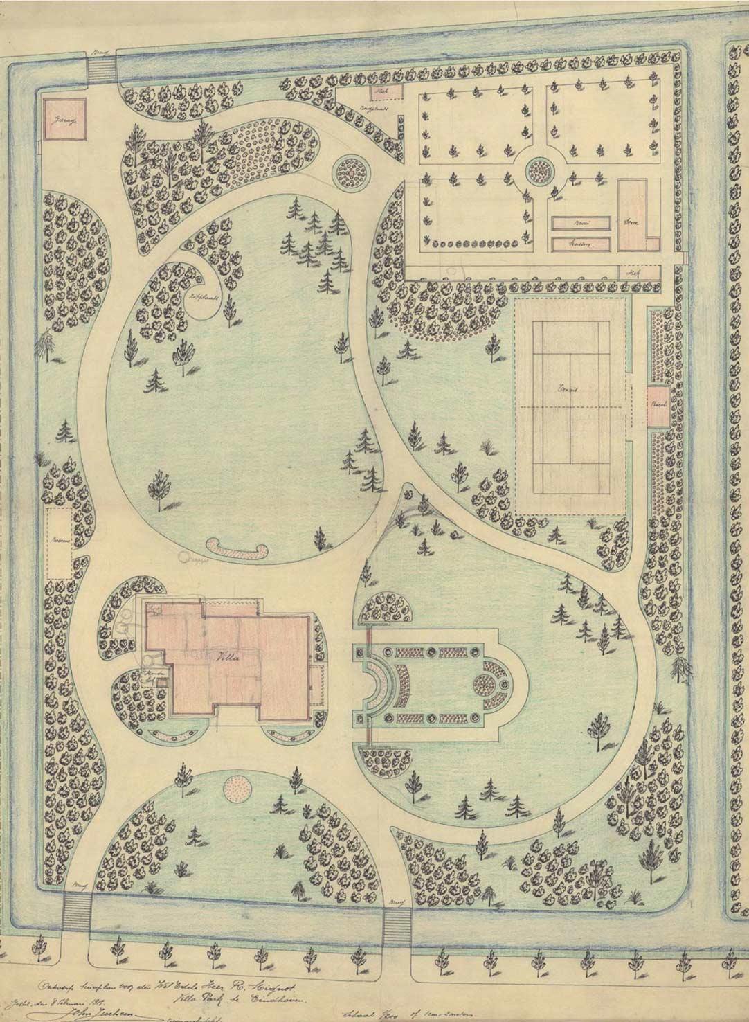 Het tuinontwerp van J. Juchem uit 1915.