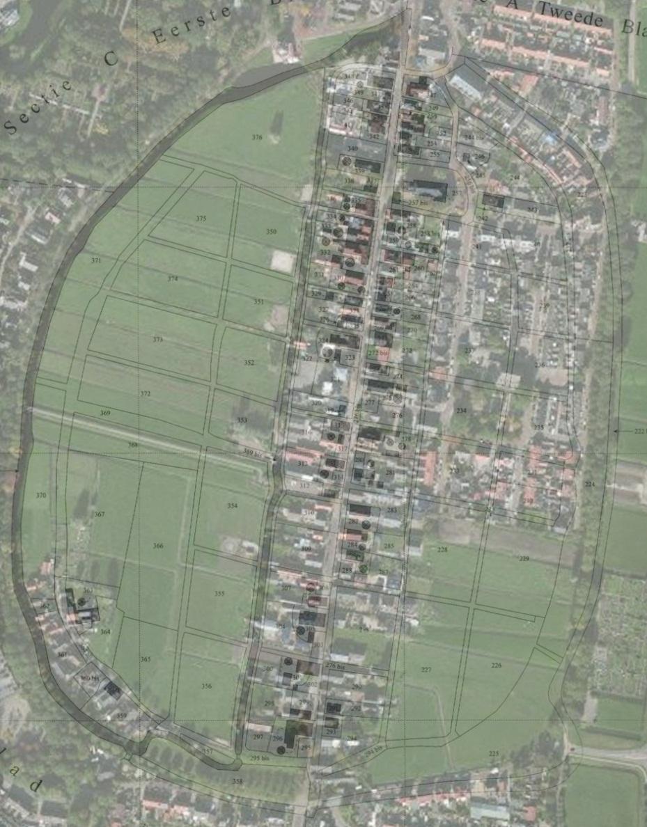 Bunschoten, projectie kadastrale minuutkaart 1822 op luchtfoto